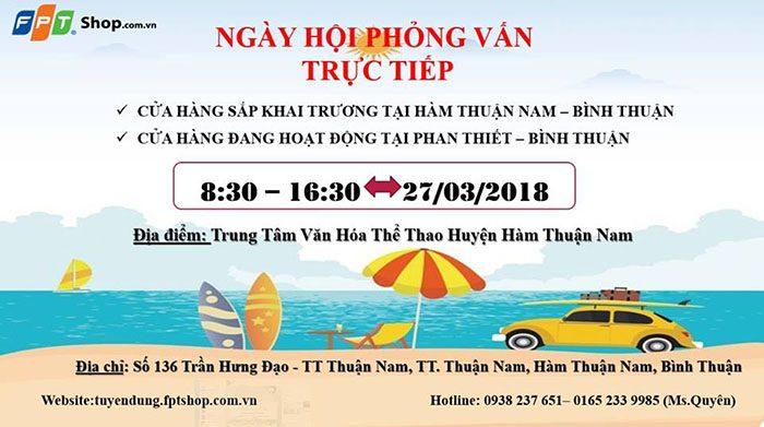 FPT Shop mở phỏng vấn trực tiếp tại Hàm Thuận Nam