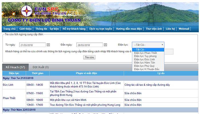 Hướng dẫn tra cứu lịch cúp điện Bình Thuận