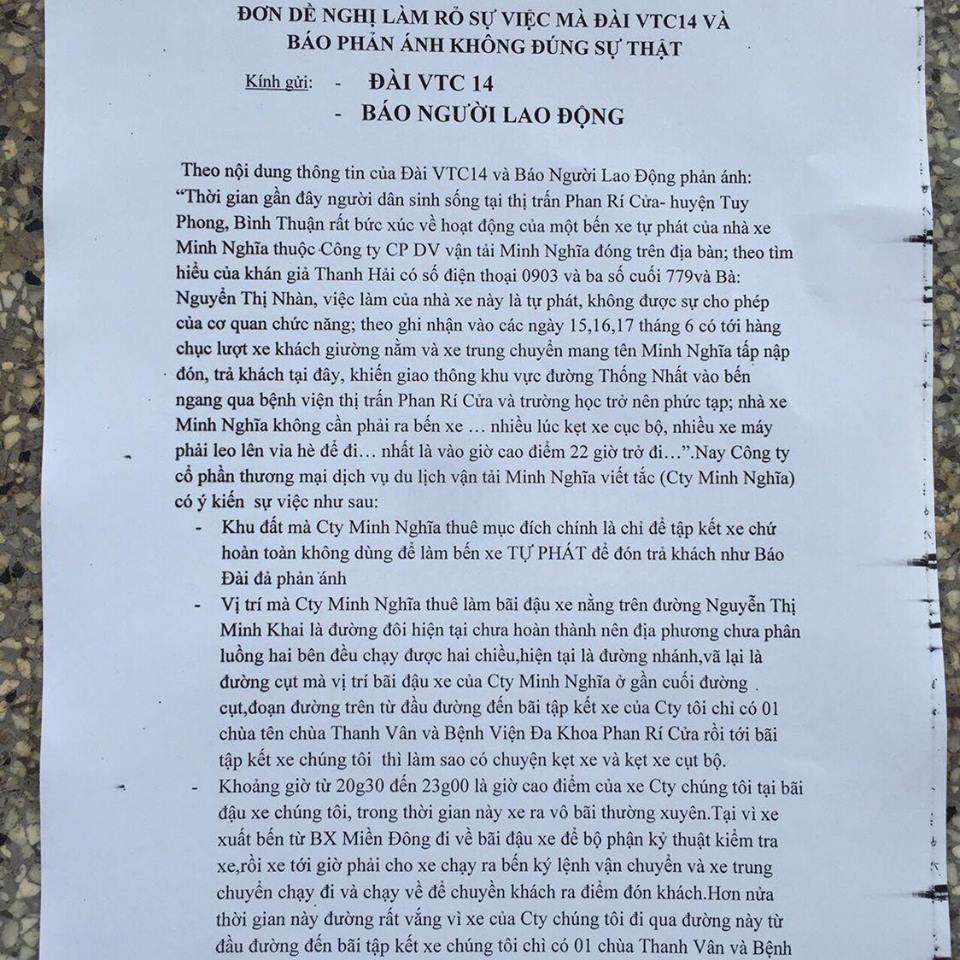 Nhà xe Minh Nghĩa bị vu oan