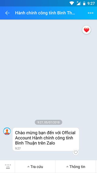 Zalo Hành chính công Bình Thuận