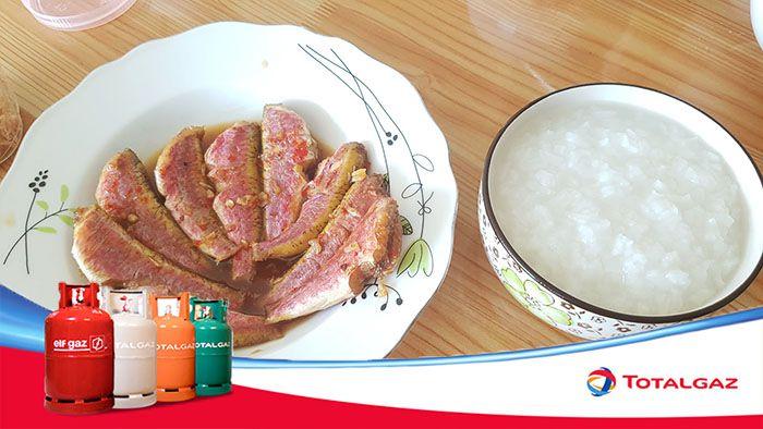 cà phèn kho ăn với cháo trắng