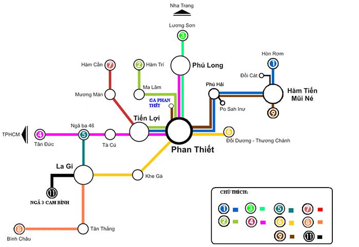 Bản đồ xe buýt du lịch Bình Thuận