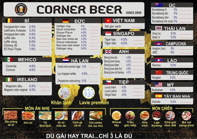 Menu của Corner Beer