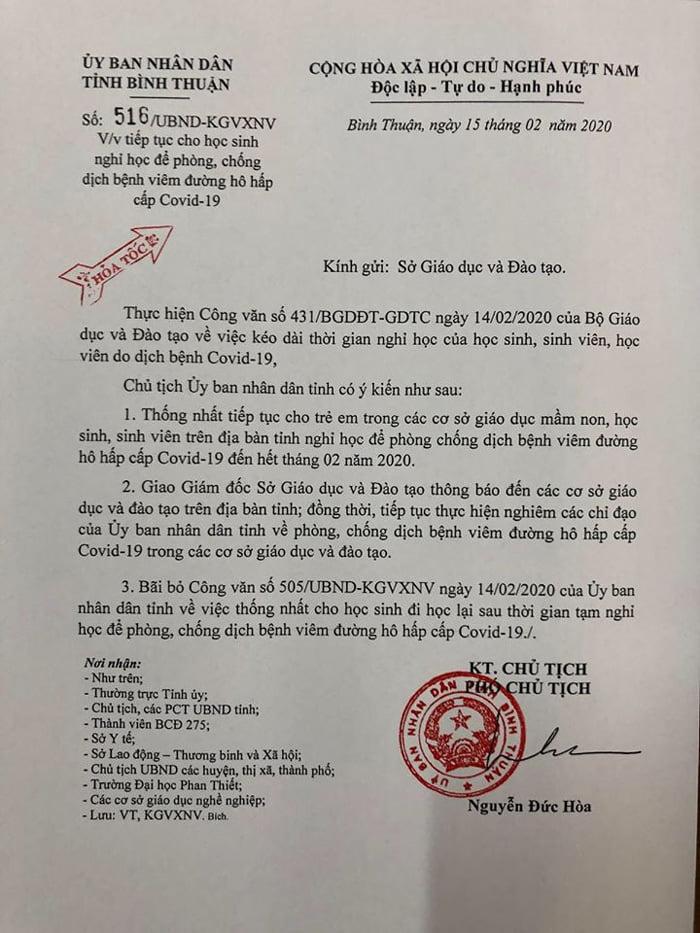 Bình Thuận nghỉ học