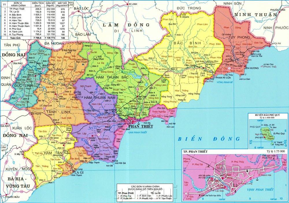Bản đồ các huyện thuộc tỉnh Bình Thuận