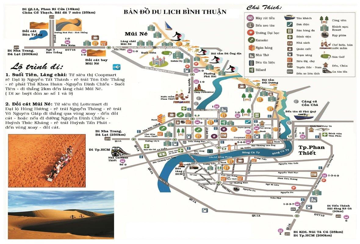 bản đồ du lịch Bình Thuận
