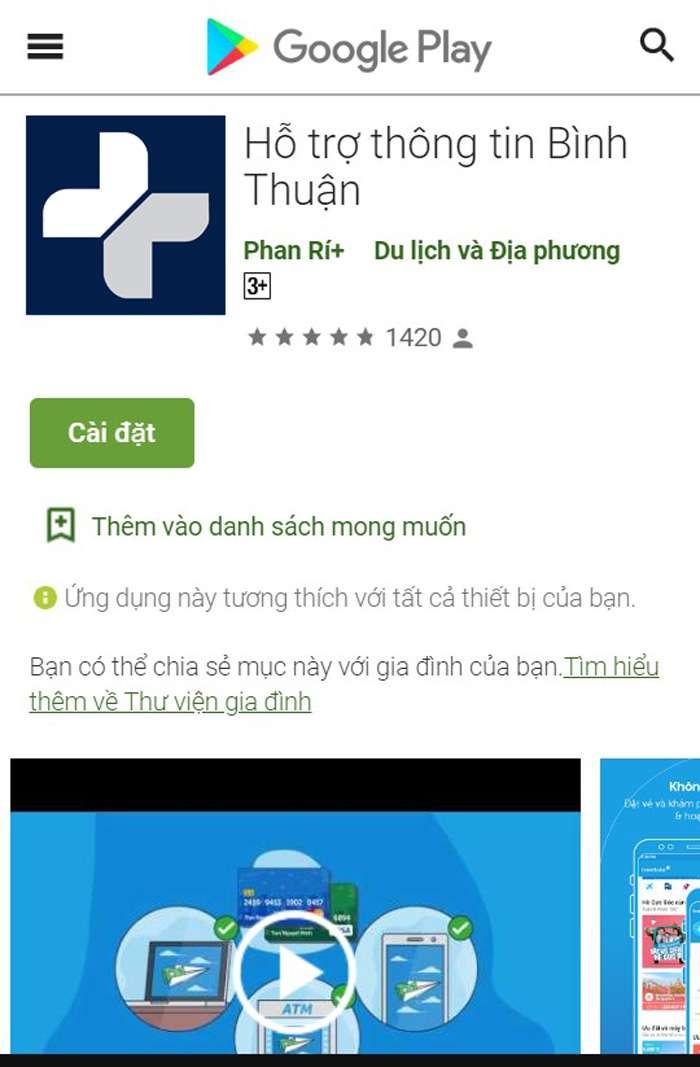 app Hỗ trợ thông tin Bình Thuận