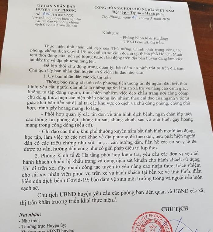 Văn bản chỉ đạo Covid-19 ở Tuy Phong