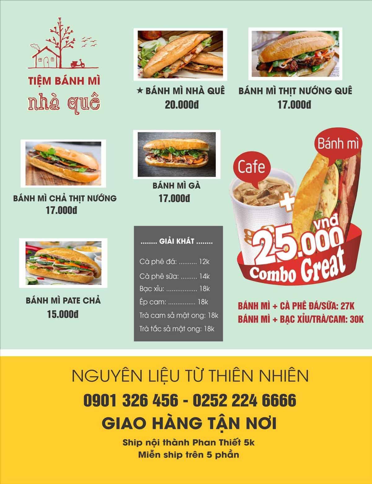 menu của bánh mì nhà quê