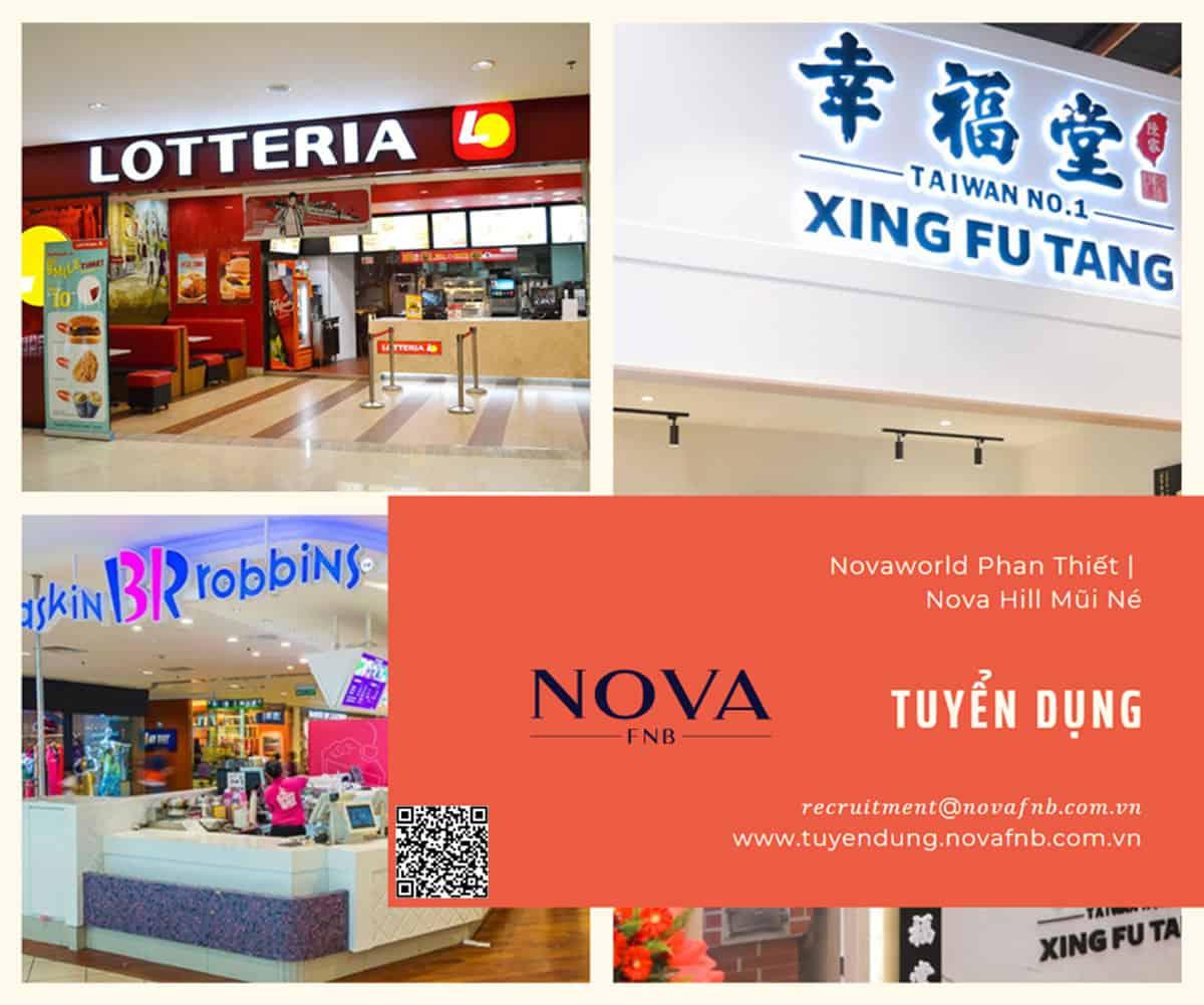 Nova F&B thông báo tuyển nhân viên làm việc cho Xing Fu Tang/ Lotteria/ Baskin Robbins